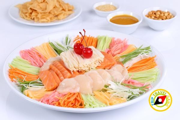 สลัดปลาแซลมอนกับเป๋าฮื้อ ฮ่องกง ฟิชเชอร์แมน อิมแพ็ค